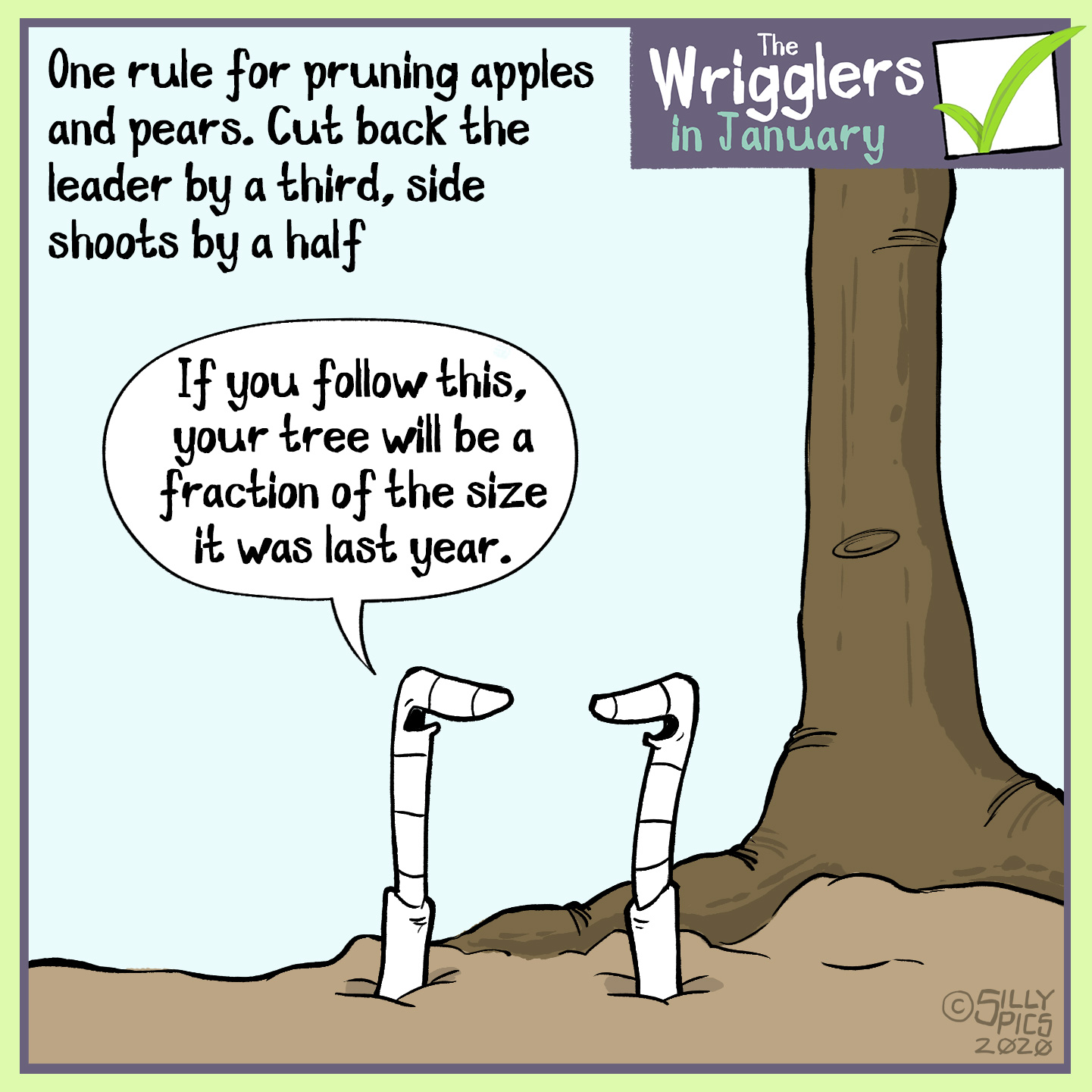 cartoon about pruning apple and pear trees
