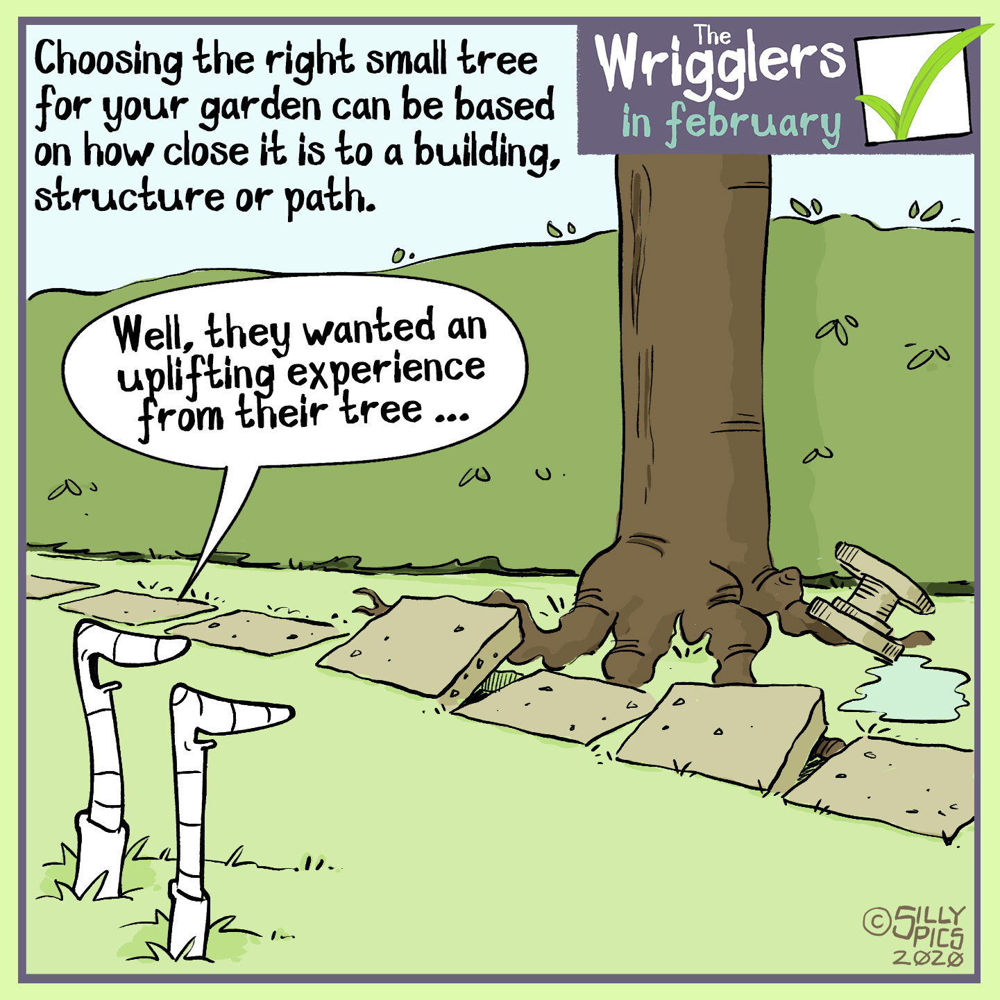 cartoon about choosing trees for your garden, being carefull of root growth