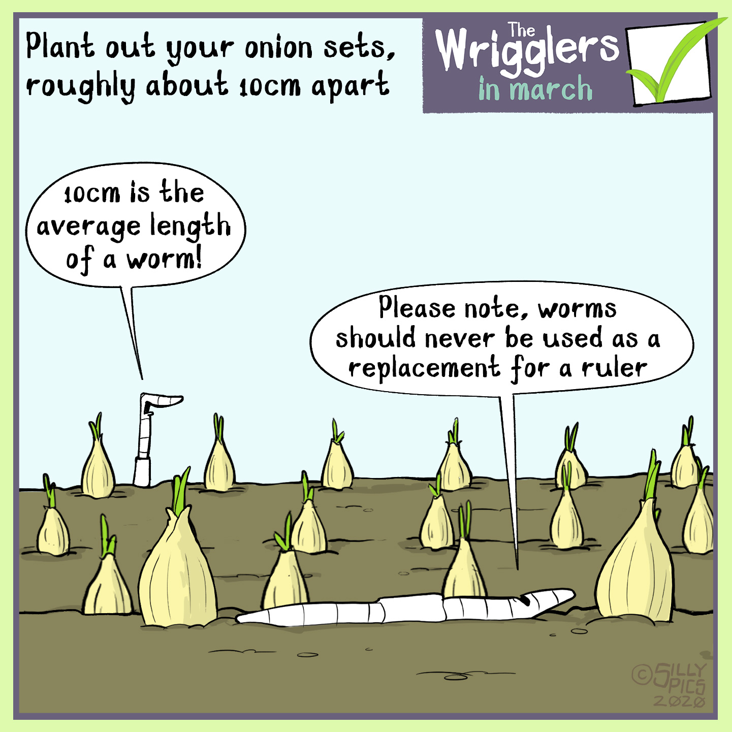 Cartoon about spacing your onion sets 10 cms apart – roughly the size of an average eartworm – one worm says to the other, On no account should an earthworm be a replacement for a ruler