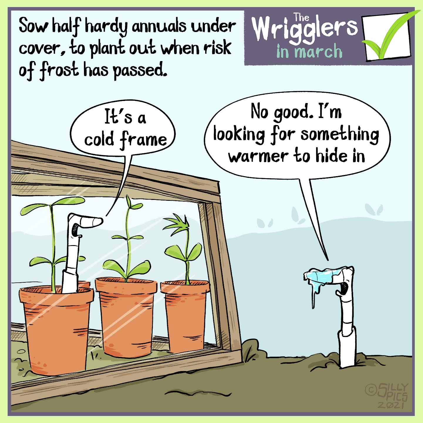 "March is still a cold month, so if growing plants or protecting seeds outside it is a good idea to have a cold frame. This is a cold frame cartoon, with one worm in a cold frame and the other outsdie, with frost on its nose. The worm in the cold frame says, ""It's a cold frame"" The other worm says, No good, I'm looking for somewhere warmer to hang out"""