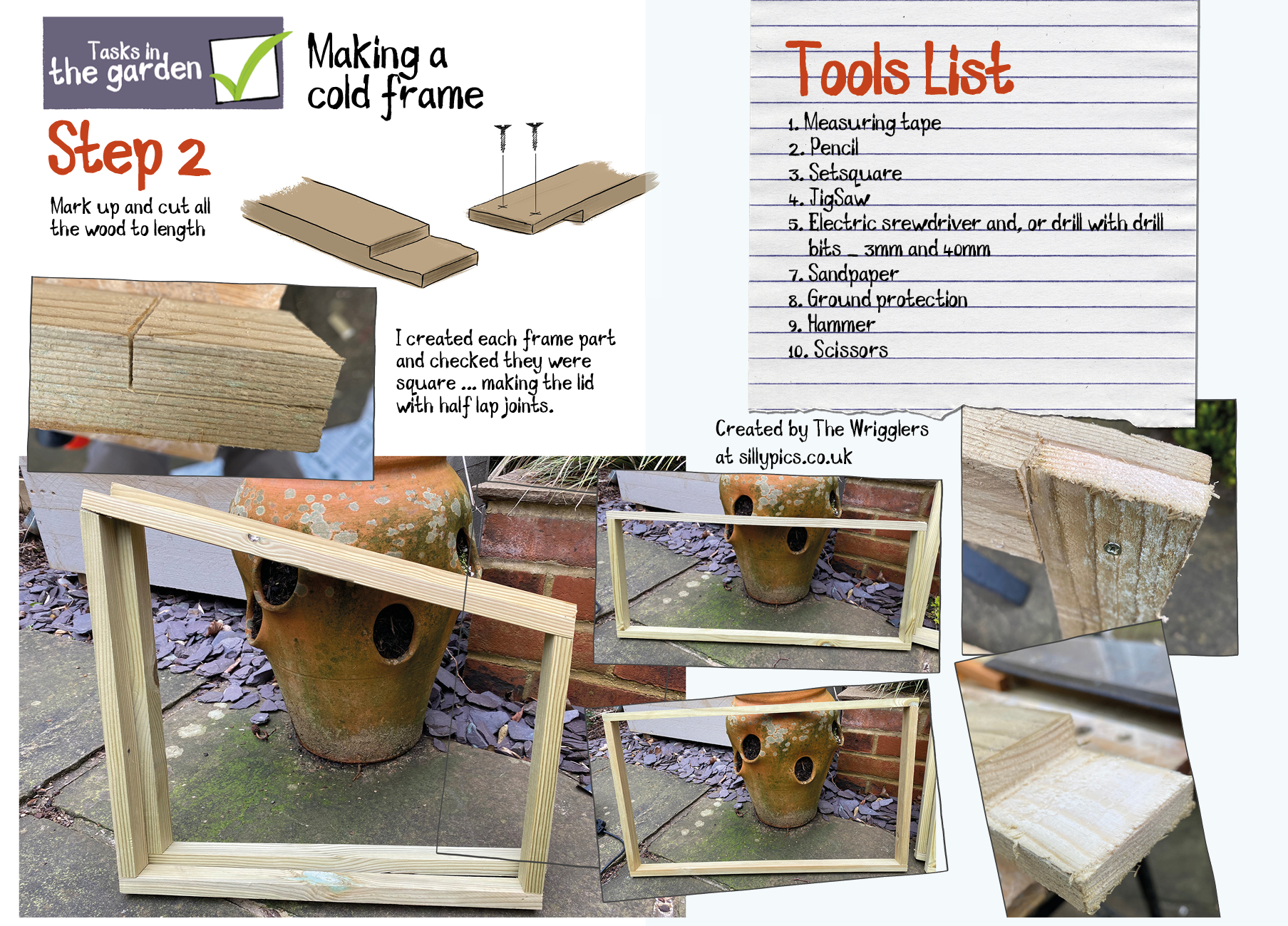 making the frames for a cold frame