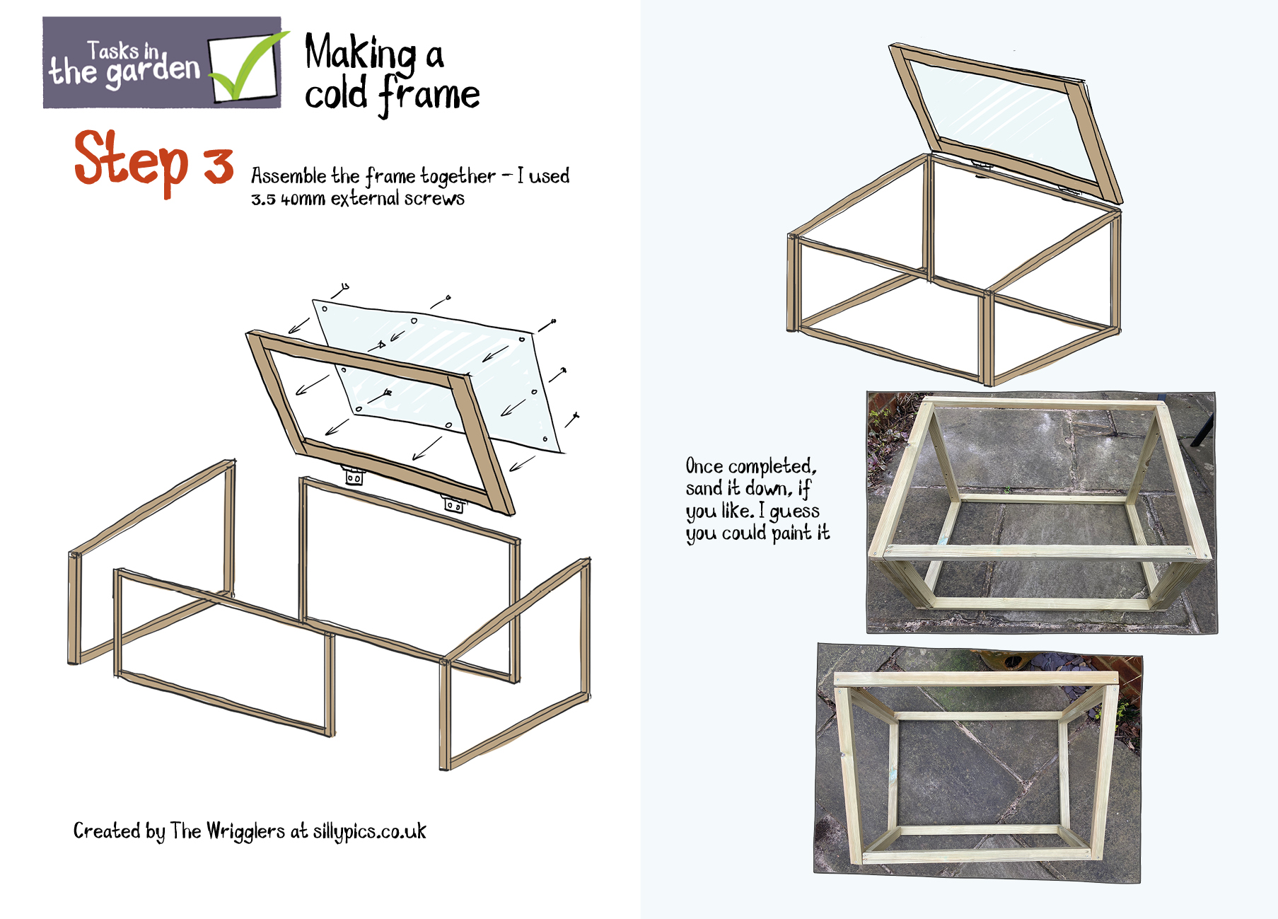 showing the frame parts of a cold frame being put together