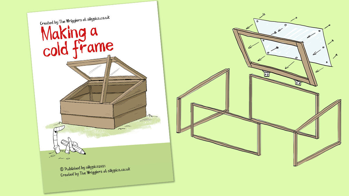 H guide on how to make a cold frame. It show s the cover of the pdf download and a sketch of the cold frame in parts