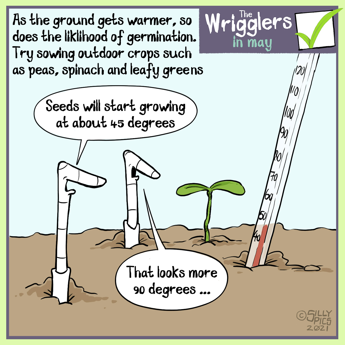 """As the ground gets warmer now, so does the likelihood of germination. Try sowing outdoor crops such as peas and leafy greens. The cartoon shows two worms in the soil with a seedling growing and a thermometer in the soil with the temperature of 45 degrees. One worm says to the other, """" Seeds will start growing at about 45 degrees."""" The other worm, looking at the seedling growing perpendicular to the ground says, """" That looks more like 90 degrees"""""""