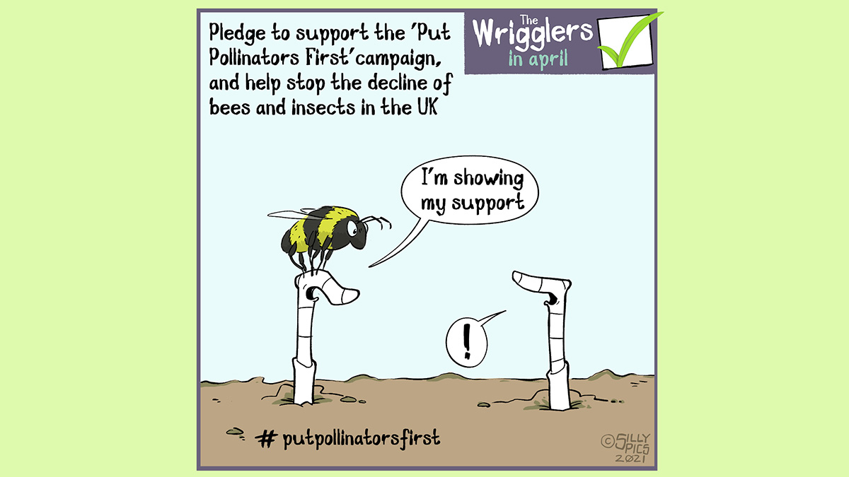 "gardening cartoon from the wrigglers about #putpollinatorsfirst - in this cartoon two worms are discussing the #putpollinatorsfirstcampaign to stop the decline of bees and insects in the UK. One bee is talking to the other worm, the worm talking has a bumble bee on its head, the worm say:""I'm showing my support"""