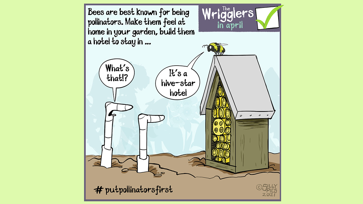 """gardening cartoon from the wrigglers about #putpollinatorsfirst - Bees are best known for being pollinators, make them feel at home in your garden, build them a hotel to stay in … in this cartoon two worms are looking at a bee hotel. There is a bee sitting on its roof. One worm says, """" what's that?"""" The bee answers, """"it's a hive star hotel"""""""