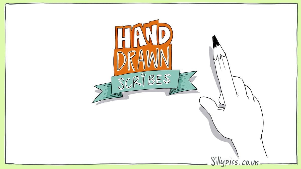 pictire hand drawn to show a logo of Hand drawn Scribes with a hand, oneof the fingers is a pencil