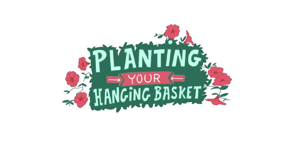 Planting a hanging basket logo