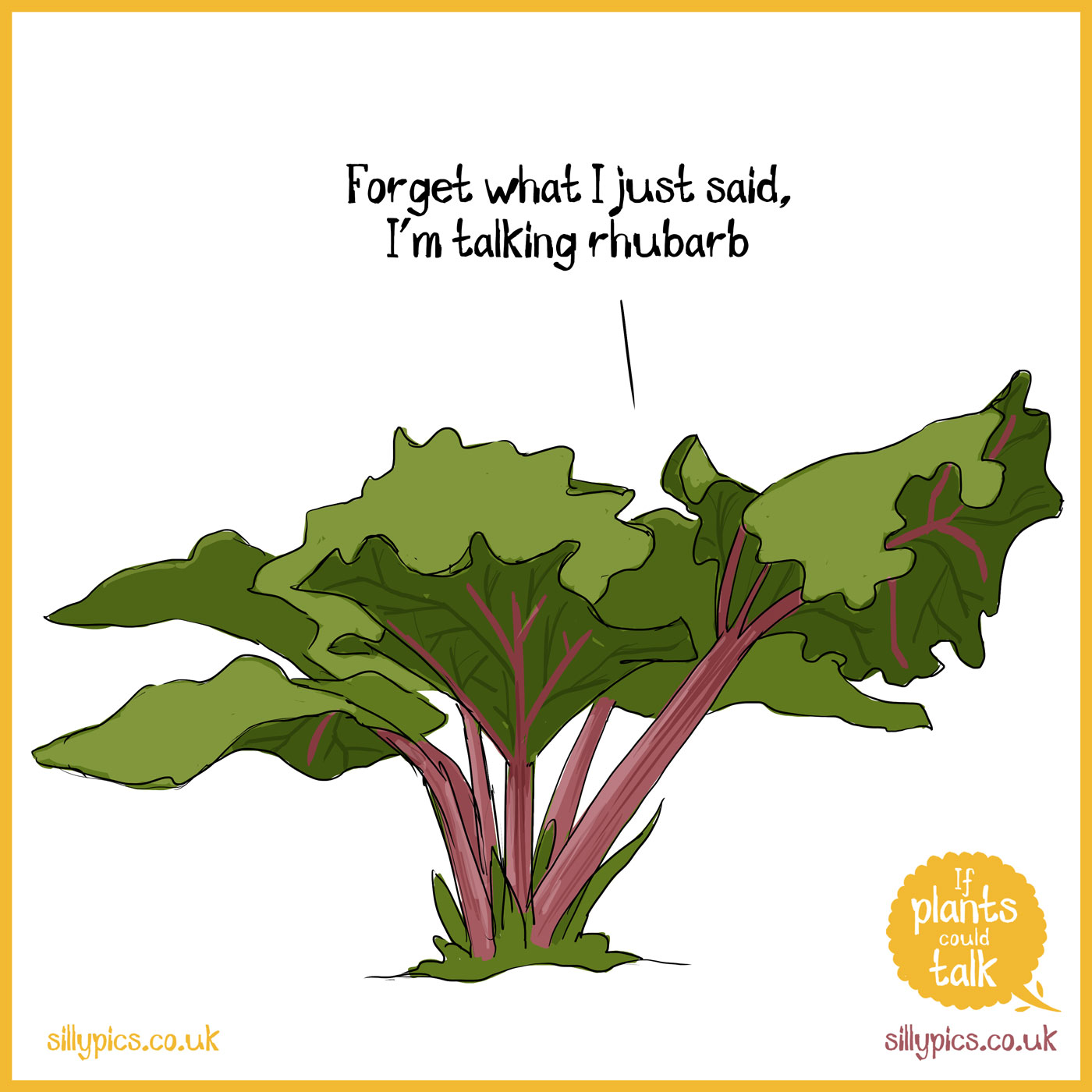 """This is a If plants could talk cartoon. The cartoon shows a rhubarb plant It says """"Forget what I just said, I'm talking rhubarb"""""""