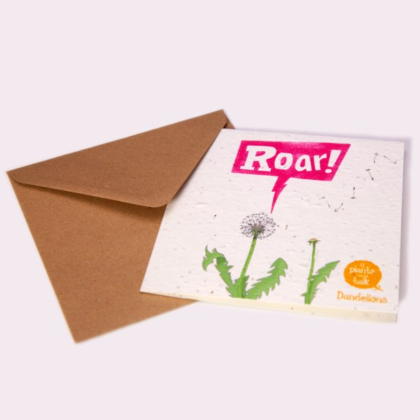 """seed paper greeting card 'if plants could talk' showing a Dandelion plant of saying, """" ROAR!"""" with envelope"""