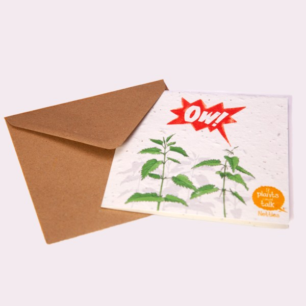 """seed paper greeting card 'if plants could talk' showing a Nettle plant being stung and shouting, """"OW!"""""""
