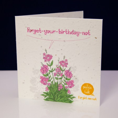 """seed paper greeting card 'if plants could talk' showing a forget-me-not plant of saying, """" Forget-your-birthday-not"""""""